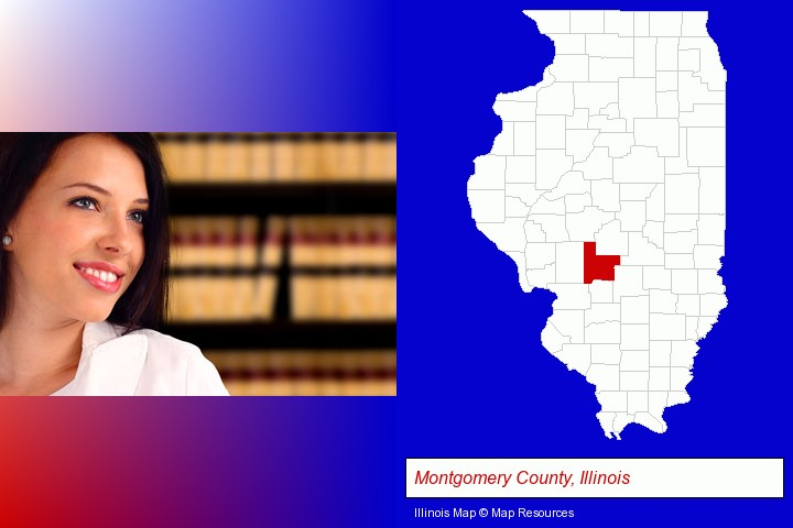 a young, female attorney in a law library; Montgomery County, Illinois highlighted in red on a map