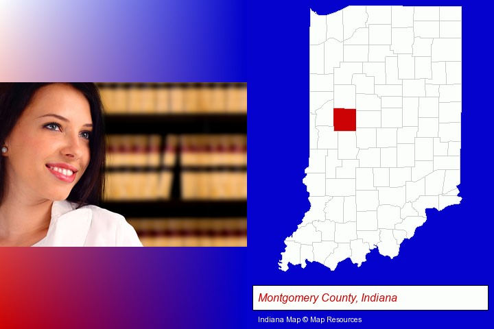a young, female attorney in a law library; Montgomery County, Indiana highlighted in red on a map