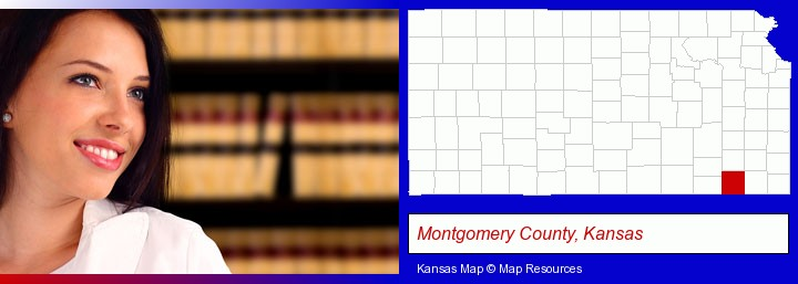 a young, female attorney in a law library; Montgomery County, Kansas highlighted in red on a map