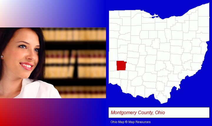 a young, female attorney in a law library; Montgomery County, Ohio highlighted in red on a map
