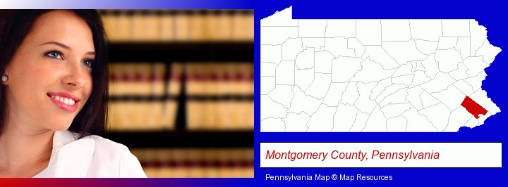 a young, female attorney in a law library; Montgomery County, Pennsylvania highlighted in red on a map