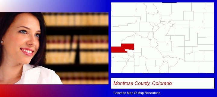 a young, female attorney in a law library; Montrose County, Colorado highlighted in red on a map