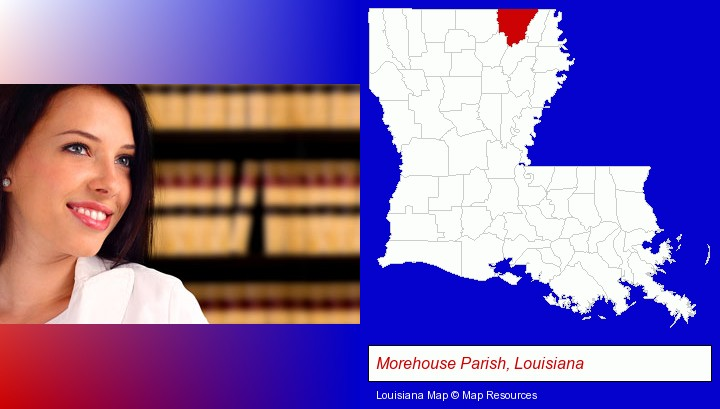 a young, female attorney in a law library; Morehouse Parish, Louisiana highlighted in red on a map