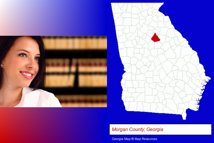 a young, female attorney in a law library; Morgan County, Georgia highlighted in red on a map
