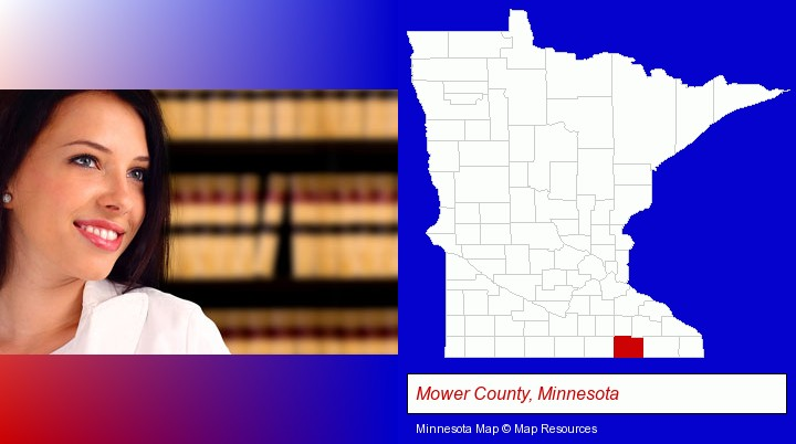 a young, female attorney in a law library; Mower County, Minnesota highlighted in red on a map