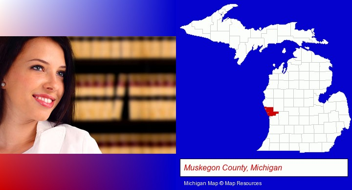 a young, female attorney in a law library; Muskegon County, Michigan highlighted in red on a map