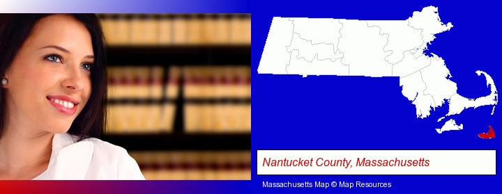 a young, female attorney in a law library; Nantucket County, Massachusetts highlighted in red on a map