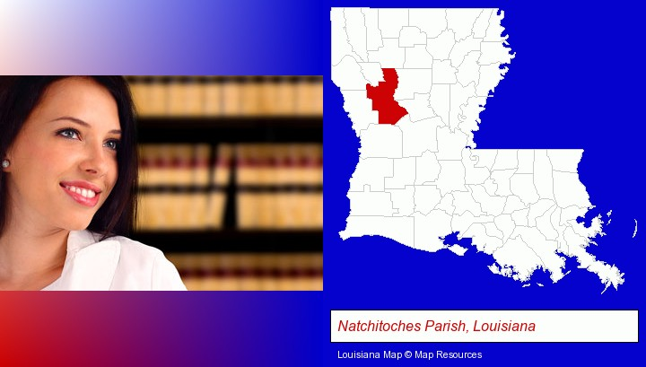 a young, female attorney in a law library; Natchitoches Parish, Louisiana highlighted in red on a map