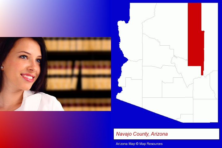 a young, female attorney in a law library; Navajo County, Arizona highlighted in red on a map