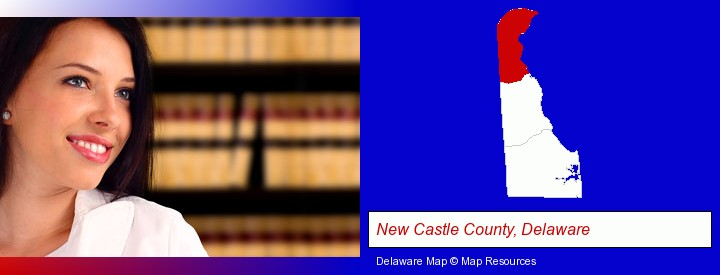 a young, female attorney in a law library; New Castle County, Delaware highlighted in red on a map