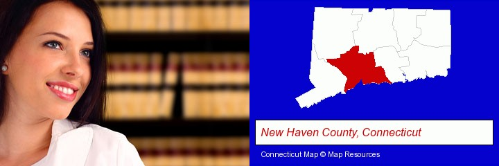 a young, female attorney in a law library; New Haven County, Connecticut highlighted in red on a map
