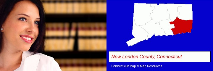 a young, female attorney in a law library; New London County, Connecticut highlighted in red on a map