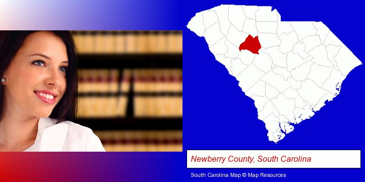 a young, female attorney in a law library; Newberry County, South Carolina highlighted in red on a map
