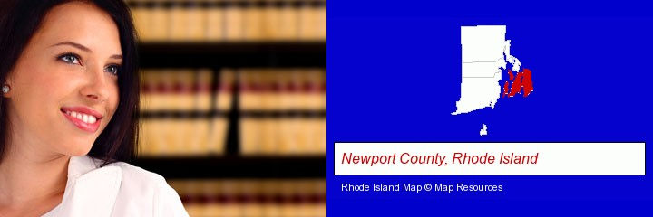 a young, female attorney in a law library; Newport County, Rhode Island highlighted in red on a map
