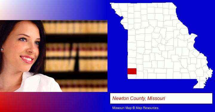 a young, female attorney in a law library; Newton County, Missouri highlighted in red on a map