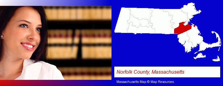 a young, female attorney in a law library; Norfolk County, Massachusetts highlighted in red on a map