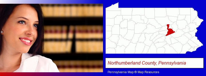 a young, female attorney in a law library; Northumberland County, Pennsylvania highlighted in red on a map