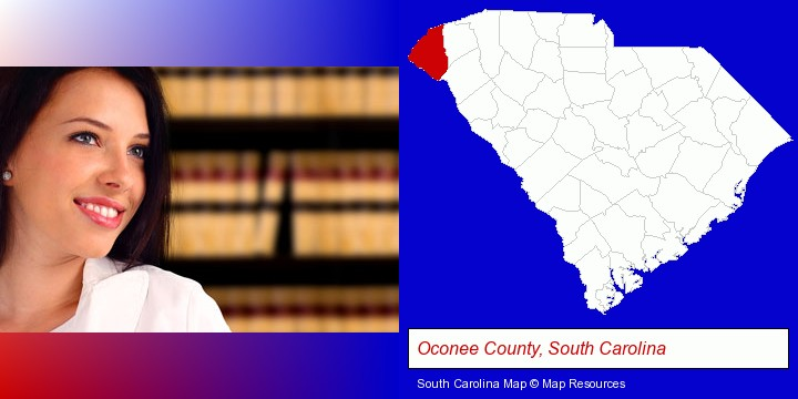 a young, female attorney in a law library; Oconee County, South Carolina highlighted in red on a map