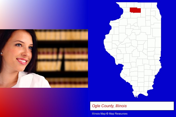 a young, female attorney in a law library; Ogle County, Illinois highlighted in red on a map