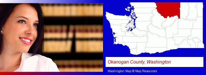 a young, female attorney in a law library; Okanogan County, Washington highlighted in red on a map