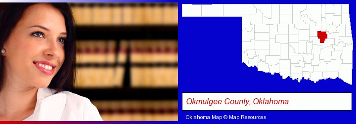 a young, female attorney in a law library; Okmulgee County, Oklahoma highlighted in red on a map
