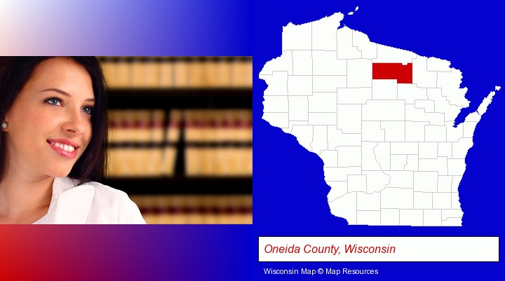a young, female attorney in a law library; Oneida County, Wisconsin highlighted in red on a map