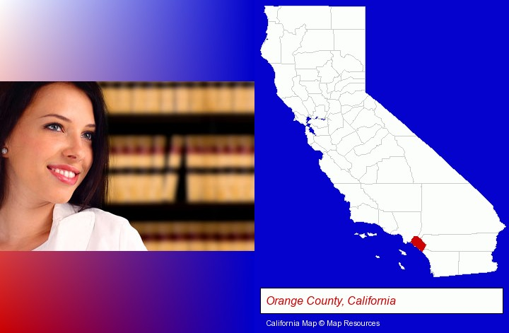 a young, female attorney in a law library; Orange County, California highlighted in red on a map