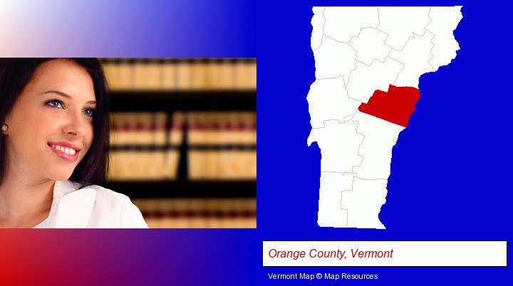 a young, female attorney in a law library; Orange County, Vermont highlighted in red on a map