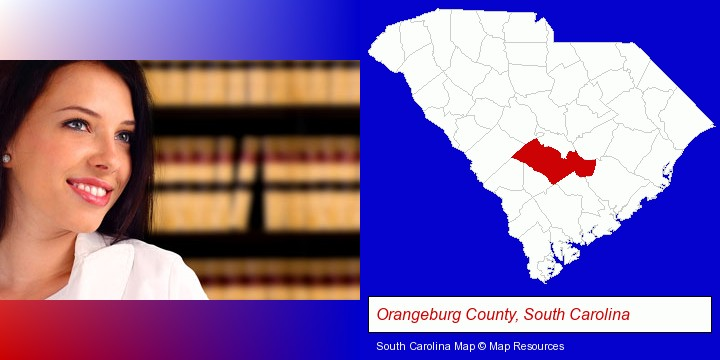 a young, female attorney in a law library; Orangeburg County, South Carolina highlighted in red on a map