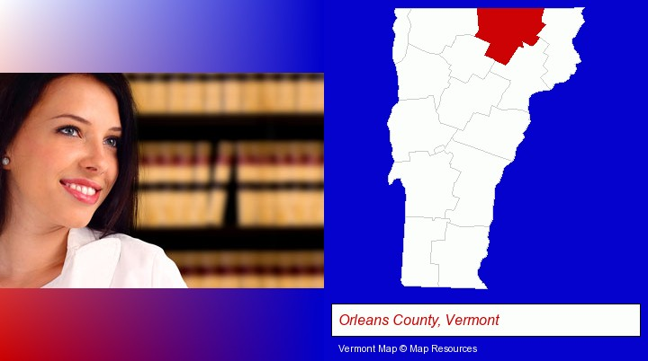 a young, female attorney in a law library; Orleans County, Vermont highlighted in red on a map
