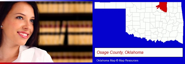 a young, female attorney in a law library; Osage County, Oklahoma highlighted in red on a map