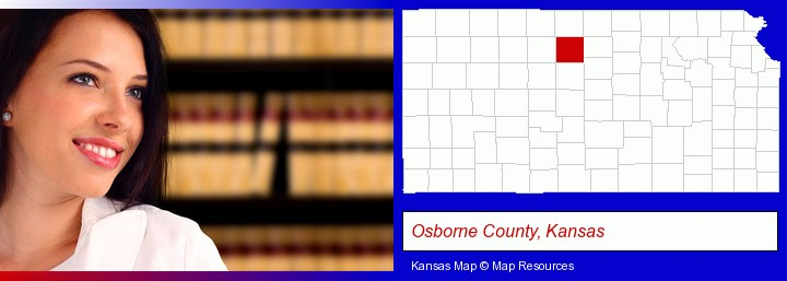 a young, female attorney in a law library; Osborne County, Kansas highlighted in red on a map