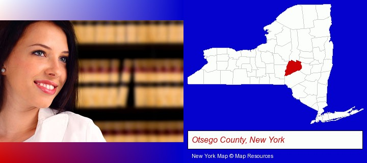 a young, female attorney in a law library; Otsego County, New York highlighted in red on a map