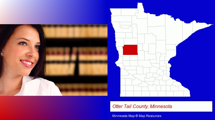 a young, female attorney in a law library; Otter Tail County, Minnesota highlighted in red on a map
