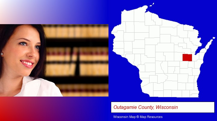 a young, female attorney in a law library; Outagamie County, Wisconsin highlighted in red on a map