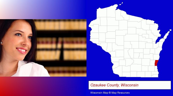 a young, female attorney in a law library; Ozaukee County, Wisconsin highlighted in red on a map