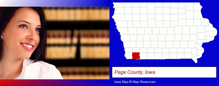 a young, female attorney in a law library; Page County, Iowa highlighted in red on a map