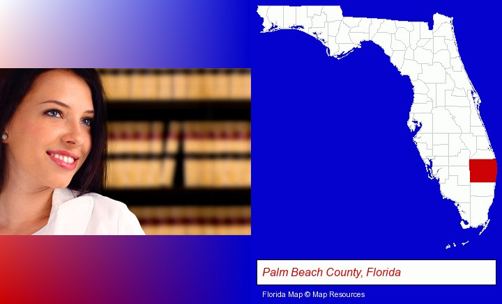 a young, female attorney in a law library; Palm Beach County, Florida highlighted in red on a map