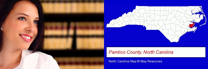 a young, female attorney in a law library; Pamlico County, North Carolina highlighted in red on a map