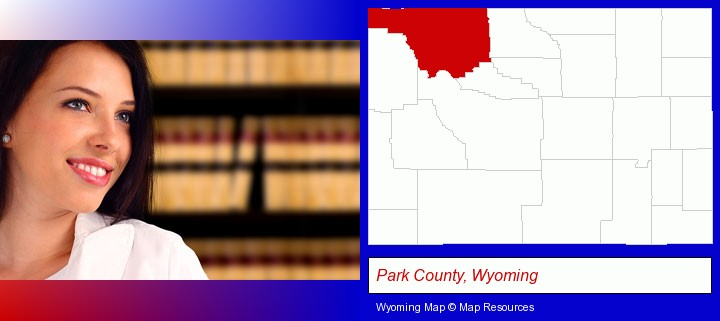 a young, female attorney in a law library; Park County, Wyoming highlighted in red on a map