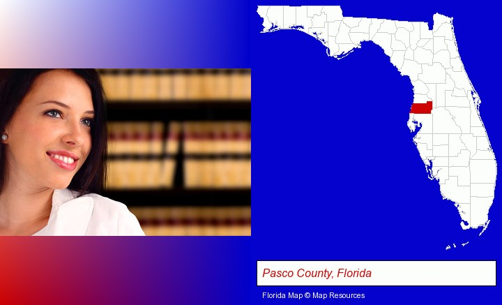 a young, female attorney in a law library; Pasco County, Florida highlighted in red on a map