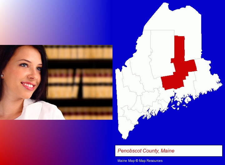 a young, female attorney in a law library; Penobscot County, Maine highlighted in red on a map