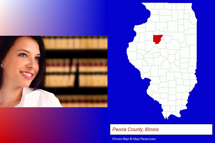 a young, female attorney in a law library; Peoria County, Illinois highlighted in red on a map