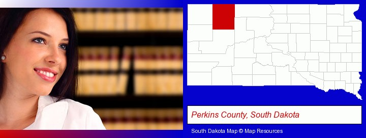 a young, female attorney in a law library; Perkins County, South Dakota highlighted in red on a map
