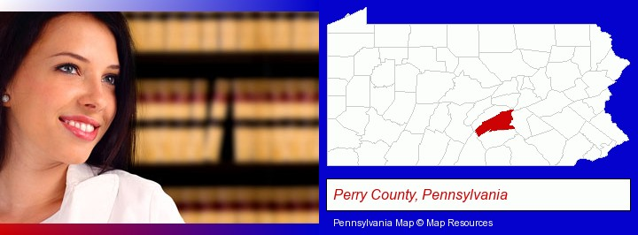 a young, female attorney in a law library; Perry County, Pennsylvania highlighted in red on a map