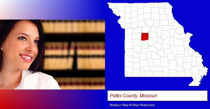 a young, female attorney in a law library; Pettis County, Missouri highlighted in red on a map