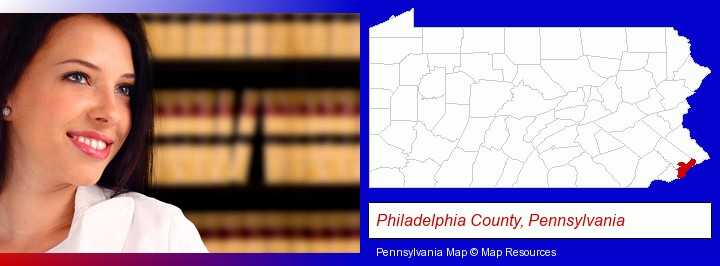 a young, female attorney in a law library; Philadelphia County, Pennsylvania highlighted in red on a map