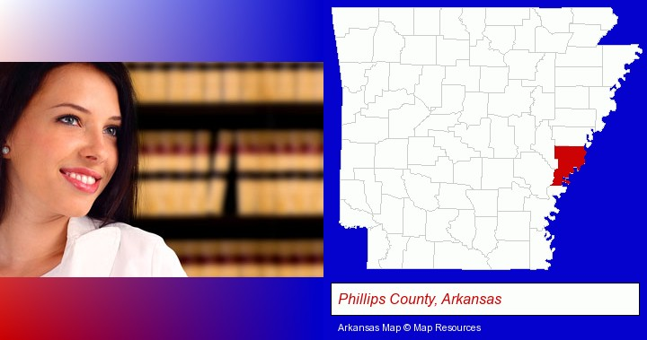 a young, female attorney in a law library; Phillips County, Arkansas highlighted in red on a map