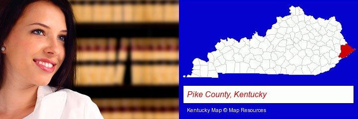a young, female attorney in a law library; Pike County, Kentucky highlighted in red on a map