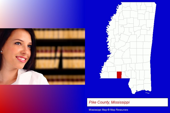 a young, female attorney in a law library; Pike County, Mississippi highlighted in red on a map